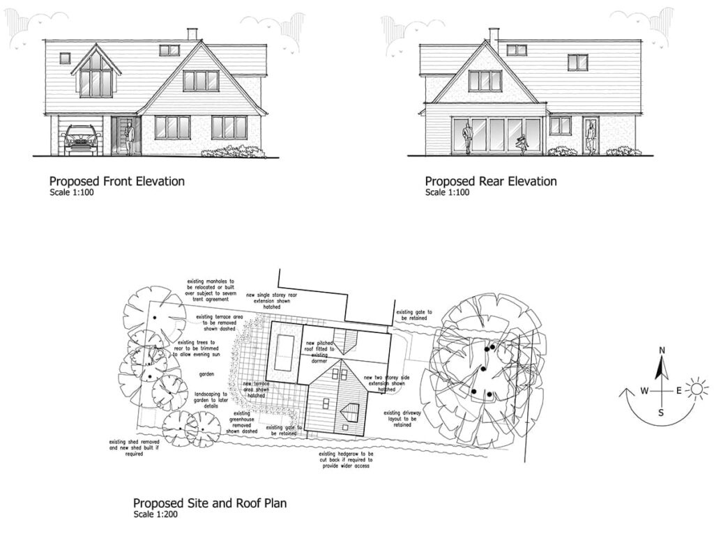 Extended bungalow drawings